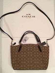 Coach Outline Signature Small Kelsey Satchel Handbag  Khaki Brown  F58283 NEW