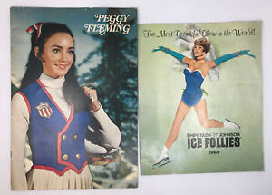 Set of 2 VTG 1969 Ice Follies Program Brochure & Peggy Fleming BIO Book Booklet