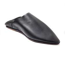 Women's Black Leather Slippers  Classic Pointed Shoes