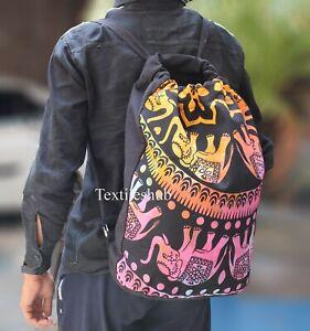 Multipurpose Backpack Bag Cotton Unisex Indian Mandala With Adjustable Straps
