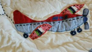 POTTERY BARN KIDS MULTICOLORED AIRPLANE QUILTED SHAM 20X26 STANDARD