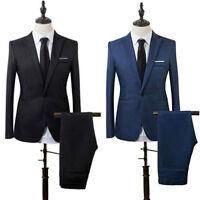 2 PC Suit Mens Formal Business Wedding Slim Fit Tuxedo Jacket Pants Blazer N