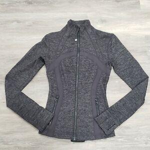 Lululemon Define Jacket Coal Wee Stripe Gray Full Zip Activewear Jacket Size 2