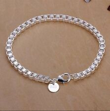 Wholesale 4mm 925sterling solid silver  box chain charm bracelet MB352