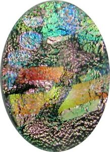 """""""Maiia 19mm x 27mm"""" beautiful hand made Fused Dichroic Glass Cabochon RELEI"""