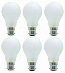 100w Watt Bayonet Light Bulbs B22 Cap Fit Standard Frosted GLS Pearl Bulbs x 6