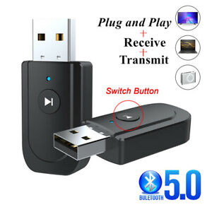 3 in1 USB Bluetooth 5.0 Audio Transmitter Receiver Adapter for TV PC Car AUX