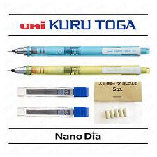 2 x Uni Kuru Toga Mechanical Pencils - Blue & Green Barrels + Leads + Erasers