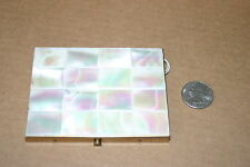VINTAGE PAIR OF MOTHER OF PEARL CASES, CIGARETTE AND COMPACT, GOLD TONE NICE!