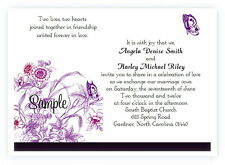 100 Personalized Custom Purple Butterfly Bridal Wedding Invitations Set