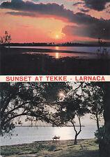 CYPRUS POSTCARD LARNACA SUNSET AT TEKKE SALT LAKE