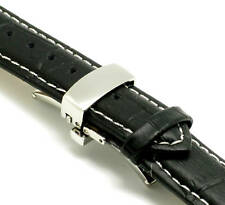 18mm Black/White Leather Croco Watch Strap Push Button Clasp With 2 Spring Bar