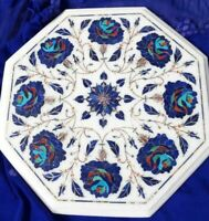 """12"""" Marble side Coffee Table Top Marquetry lapis Floral Inlay Art Home Decor"""