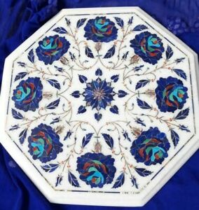 """12"""" Marble side Coffee Table Top Floral Inlay Art Home Decor"""