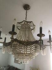 Antique Vintage Gold Crystal Chandelier Lamp Light