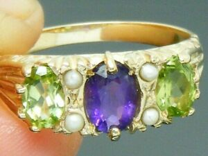 9ct Gold Suffragette Amethyst Peridot Pearl Ring size Q