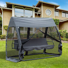 Outsunny Garden Swing Chair Patio Hammock 3 Seater Bench Canopy Lounger Gary