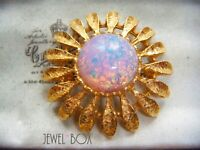 VINTAGE 1950s FAUX Iridescent OPAL CABACHON Crystal SUNFLOWER FLOWER BROOCH