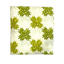 Vintage Perma Prest Twin Flat Bed Sheet Faux Quilt Patchwork Green White