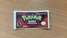 Gameboy Advance Pokemon Ruby Replacement Label Sticker Nintendo Cartridge