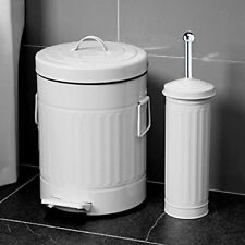 WHITE WASTE 3 LITRE PEDAL BIN & TOILET BRUSH WITH HOLDER SET LOU BATHROOM BATH