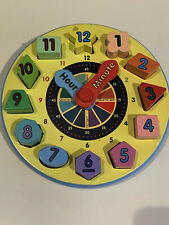 Melissa & Doug Wooden Shape Sorting Clock Toy Multicolor Shapes & Time
