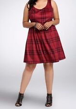 Torrid Red Black Brushed Plaid Skater Dress w/ belt Sz 18 aka 2X 2 #35897