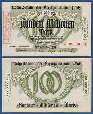 Kreisgemeinde PFALZ 100 Millionen 1923 KASSENFRISCH  BAY 256a