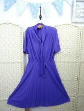 VINTAGE sheer purple tea dress stretch polyester retro granny chic hen pleated M