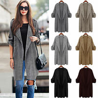Womens Jacket Open Front Trench Coat Holiday Long Overcoat Waterfall Cardigan UK