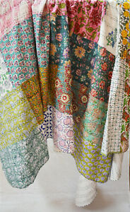 Indian Cotton Hand Block Printed Twin Assorted Kantha Quilt Patchwork Bedspread