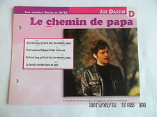 CARTE FICHE PLAISIR DE CHANTER JOE DASSIN LE CHEMIN DE PAPA
