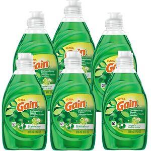Pack of 6 Ultra Gain Dishwashing Liquid, Original Scent, 48 fl oz (6x8 fl oz)