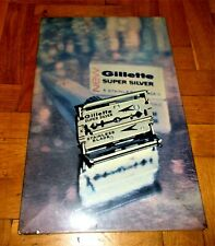 AMAZING VINTAGE GILLETTE SUPER SILVER HARDBOARD ADVERTISING POSTER