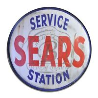 Sears Service Station Design Red White & Blue Reproduction Circle Aluminum Sign