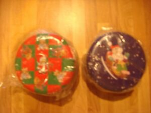 christmas candles in decorative tins-set of 2 new