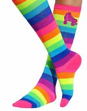 Rainbow Stripe Roller Skate Skating Derby Long Knee Boot Socks Women Shoe 4-11