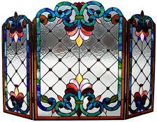 TIFFANY STAINED GLASS FIREPLACE SCREEN * FLEUR-DE-LIS Jewels Art Deco Geometric