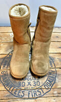 UGG Celvin Side Zip Women's Size 6 Chestnut Suede Shearling Lined Boots F10011F