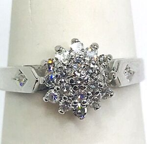 Diamonds 0.20ct.Colour H-I Clarity Vs1-Vs2 White Gold 9k. Ladies Ring Size J 1/2
