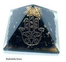 REIKI CHARGED BLACK TOURMALINE ORGONE PYRAMID HAMZA PROTECTION ENERGY GENERATOR