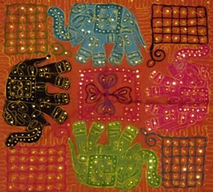 """35"""" BROWN CLASSIC TRIBAL HANDCRAFTED TAPESTRY WALL HANGING GUJRATI ART DÉCOR"""