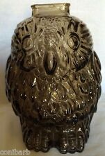 VINTAGE  Wise Old Owl Smoke Glass Piggie Bank SCULPTURE FIGURINES COLLECTABLE