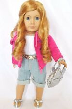 "Doll Clothes AG 18"" Jean Capri Jacket Bag Shoes Made To Fit American Girl Dolls"