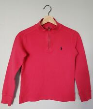 Polo Ralph Lauren Boys Sweater M 10-12 Cotton Light Red 1/4 Mock Neck Pullover