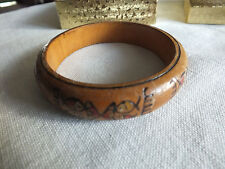 "Collectible Bangle Bracelet Wood Carved Painted Fish 5/8"" W x 2 1/2"" Across UNIQ"