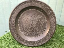 More details for superb mid 19thc gothic pewter dish, plate with winged lion of st mark c1860s
