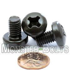 M8 x 12mm Phillips Pan Head Machine Screws, Steel w/ Black Oxide Din 7985A