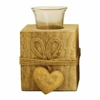 Votive Glass Candle Holder Wood Base Wedding Decor Tealight with Small Heart