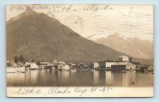 Sitka, AK - SCARCE c1905 WIDE PANORAMA TOWN VIEW - BOATS & SHIPS  - RPPC